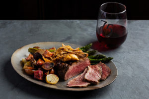 steak and wine at 75 on chestnut restaurant in beacon hill boston photographed by boston food photographer nicole loeb