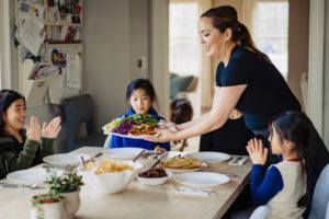 private chef tiny spoon chef with asian family eating dinner together photographed by boston photographer nicole loeb