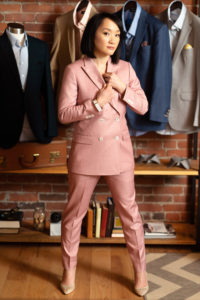 9 Tailors owner samantha shih in pink business suit photographed by boston photographer nicole loeb