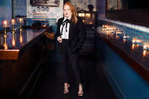 9 Tailors portrait of female in suit at fool's errand restaurant photographed by boston photographer nicole loeb