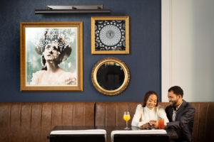 Black couple enjoying drinks at Whitney Hotel lobby restaurant photographed by Boston photographer Nicole Chan